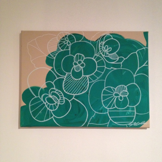 "emerald peonies painting, about 14""x12"", $20 - SOLD"