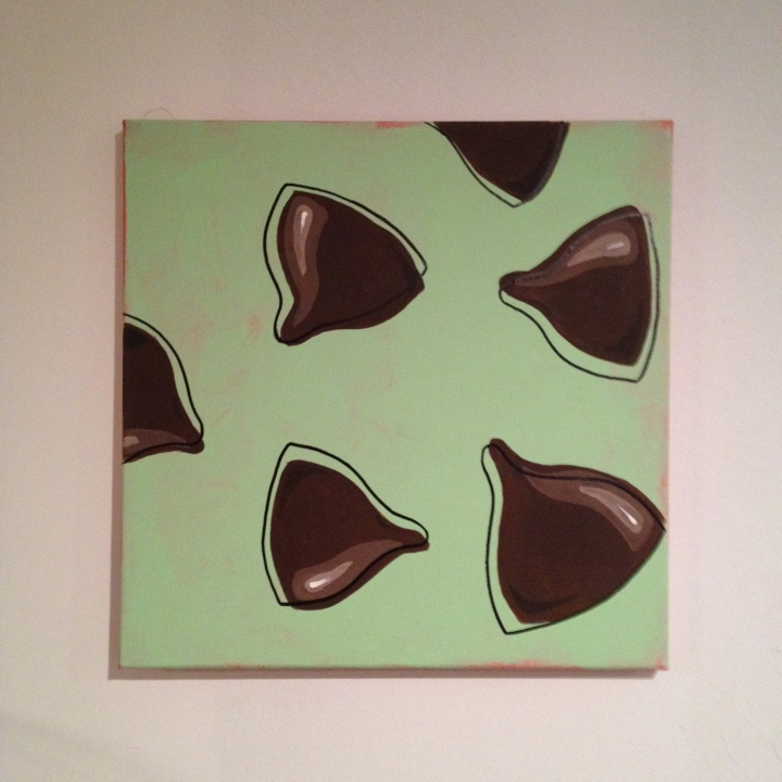 """Mint chocolate chip modern painting, about 15"""" square, $25"""