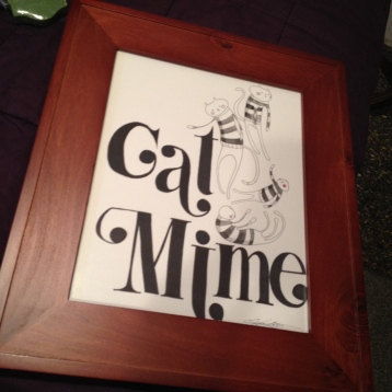 """Cat Mime watercolour painting, about 10""""x13"""" includes frame $40"""