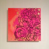 Square neon mod flowers on wood, $30
