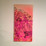 """Bright line drawing mod flowers painting on wood, about 12""""x18"""", $40"""