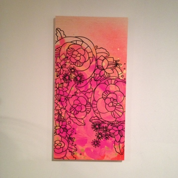 "Bright line drawing mod flowers painting on wood, about 12""x18"", $40"