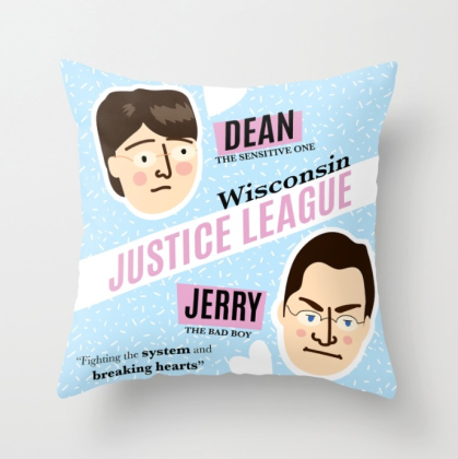 Dean Strang and Jerry Buting Wisconsin Justic League pillowby Kodiak Milly on Society6