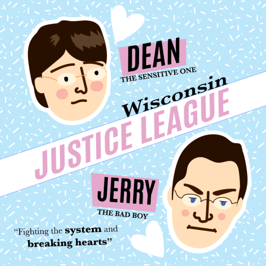 Dean Strang and Jerry Buting Wisconsin Justic League print by Kodiak Milly on Society6