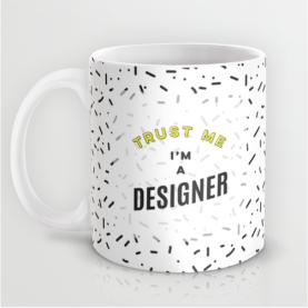 Trust Me I'm A Designer mug black and white