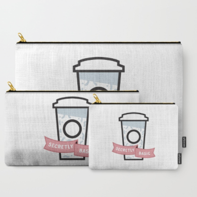 Secretly Basic carry-all pouch set society6