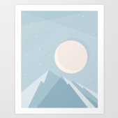 moonlight on blue mountains print on society6 by kodiak milly