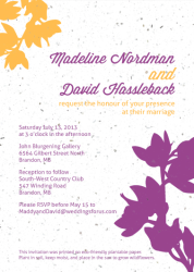 Modern Orchid wedding invite by Kristen Lourie co Botanical Paperworks