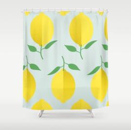 lemon-pattern-by-kodiak-milly-society6-shower-curtain