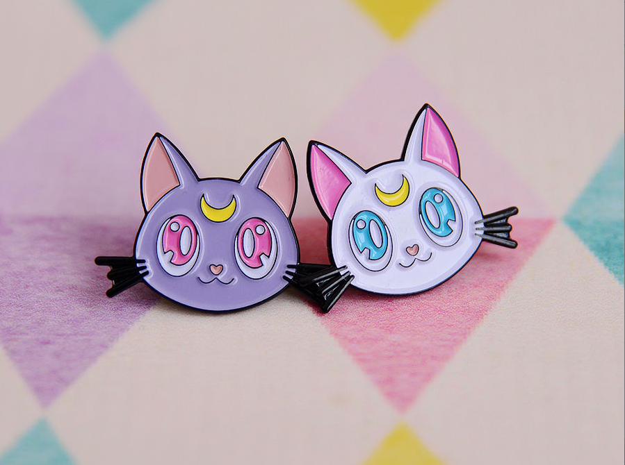 Luna and Artemis enamel pins Sailor Moon.png