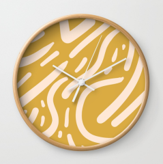 Mustard_Yellow_and_Peach_pattern-Tribal-Inspired_by_Kodiak_Milly_Society6_clock
