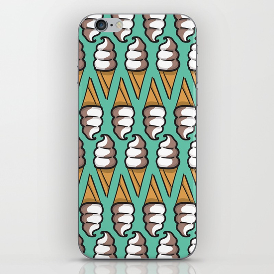 swirl-cone-ice-cream-illustration-with-teal-background-phone-skins