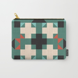 geometric-quilt-like-pattern-deep-green-rust-ivory-black-carry-all-pouches