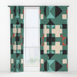 geometric-quilt-like-pattern-deep-green-rust-ivory-black-curtains