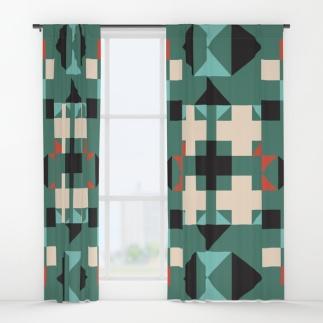 geometric-quilt-like-pattern-deep-green-rust-ivory-black-curtains