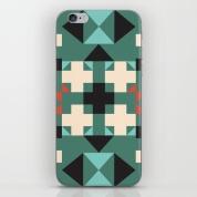 geometric-quilt-like-pattern-deep-green-rust-ivory-black-phone-skins