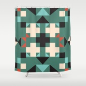 geometric-quilt-like-pattern-deep-green-rust-ivory-black-shower-curtains