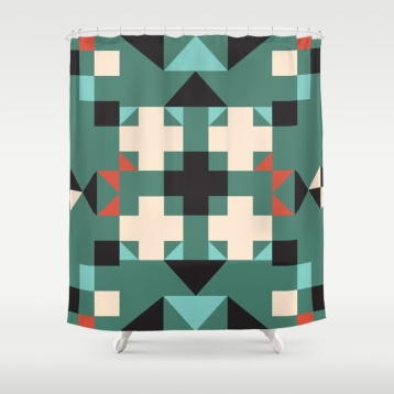 geometric-quilt-like-pattern-deep-green-rust-ivory-black-shower-curtains