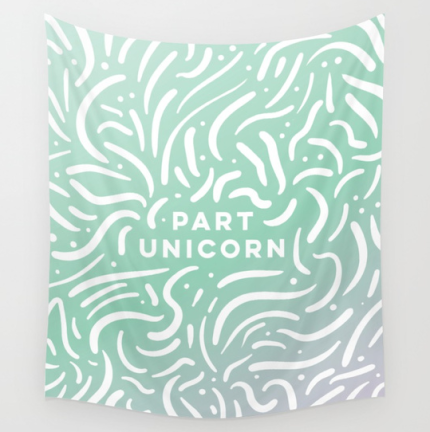 Part Unicorn wall tapestry on Society6 by Kodiak Milly