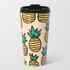 pineapple-illustration-on-peach-background-metal-travel-mugs