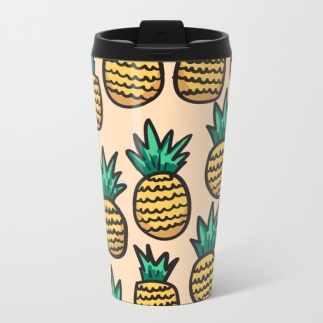 pineapple-illustration-on-peach-background-metal-travel-mugs