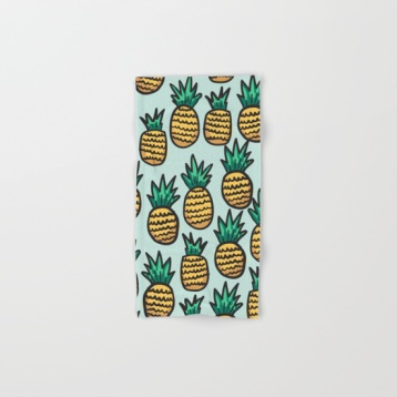 pineapple-illustration-pattern-on-blue-background-bath-towels
