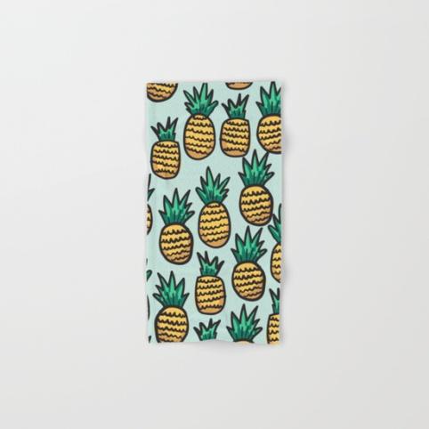 pineapple-illustration-pattern-on-blue-background-bath-towels