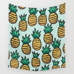 pineapple-illustration-pattern-on-blue-background-tapestries