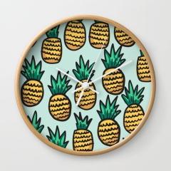 pineapple-illustration-pattern-on-blue-background-wall-clocks