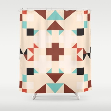 geometric-quilt-like-pattern-ivory-rust-sable-teal-shower-curtains
