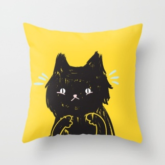scaredy-cat-cute-scared-black-kitty-cat-illustration-pillows