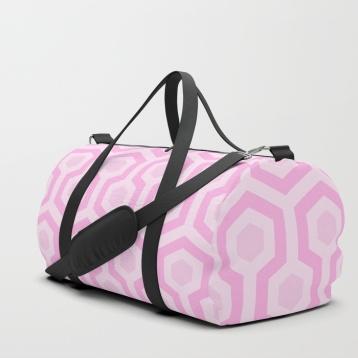 The-Shining-Overlook-Hotel-carpet-pattern-bubble-gum-pastel-pink-cute-carpet-pattern-duffle-bags