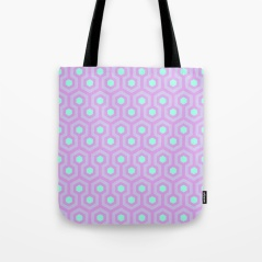 The-Shining-Overlook-Hotel-carpet-pattern-lavender-opal-purple-and-mellow-neon-green-pattern-bags