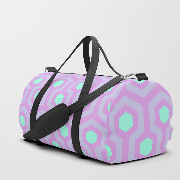 The-Shining-Overlook-Hotel-carpet-pattern-lavender-opal-purple-and-mellow-neon-green-pattern-duffle-bags