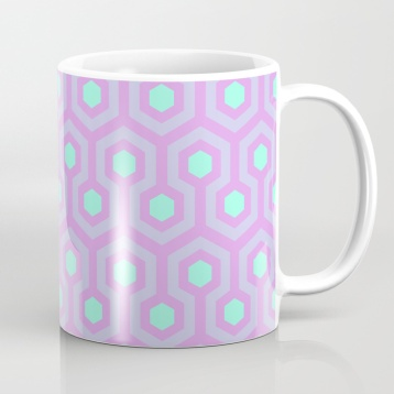 The-Shining-Overlook-Hotel-carpet-pattern-lavender-opal-purple-and-mellow-neon-green-pattern-mugs