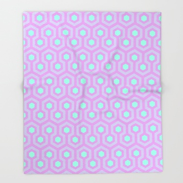 The-Shining-Overlook-Hotel-carpet-pattern-lavender-opal-purple-and-mellow-neon-green-pattern-throw-blankets