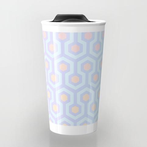 The-Shining-Overlook-Hotel-carpet-pattern-magical-unicorn-oil-spill-pastel-coloured-geometric-pattern-travel-mugs