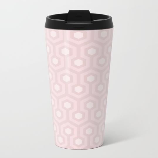 The-Shining-Overlook-Hotel-carpet-pattern-subtle-pink-pastel-geometric-retro-pattern-metal-travel-mugs