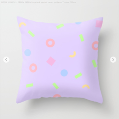 Neon-lunch-1990s-retro-pattern-shapes-pastels-kodiak-milly-pillow