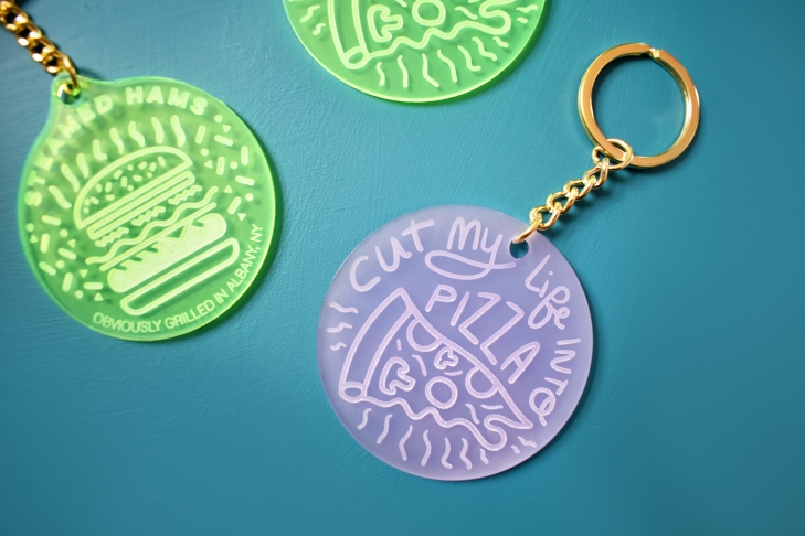 Misty Grape Light Purple Acrylic Engraved Keychain - Cut My Life Into Pizza - Designed by Kodiak Milly on Etsy