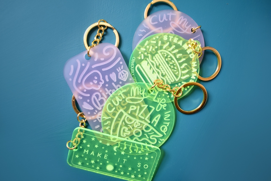 Acrylic Engraved Keychains by Kodiak Milly on Etsy