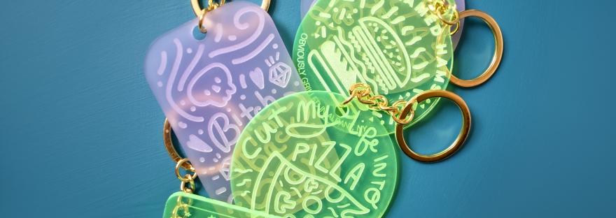 Acrylic Engraved Keychains by Kodiak Milly on Etsy