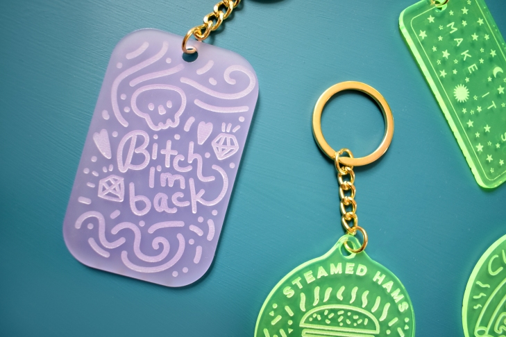Bitch I'm Back Beyonce Inspired Acrylic engraved keychain designed by Kodiak Milly available on Etsy in Misty Grape