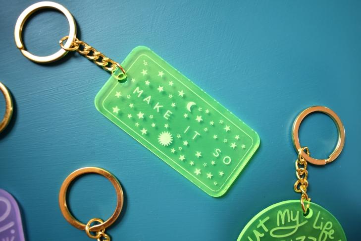 Make It So - Star Trek Inspired Laser Engraved Neon Keychain by Kodiak Milly on Etsy