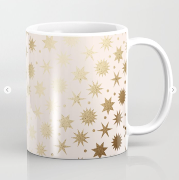 Kodiak Milly Retro Christmas Wrapping Paper Pattern on Society6 - ivory and gold mug