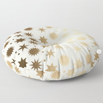 Kodiak Milly Retro Christmas Wrapping Paper Pattern on Society6 - ivory and gold floor pillow