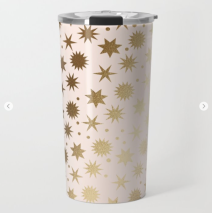 Kodiak Milly Retro Christmas Wrapping Paper Pattern on Society6 - ivory and gold travel mug