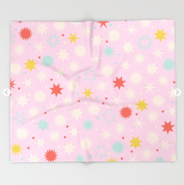 Kodiak Milly Retro Christmas Wrapping Paper Pattern on Society6 - pink blanket