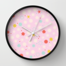 Kodiak Milly Retro Christmas Wrapping Paper Pattern on Society6 - pink clock