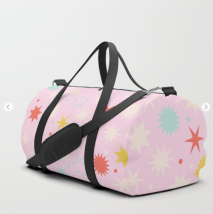 Kodiak Milly Retro Christmas Wrapping Paper Pattern on Society6 - pink duffle bag